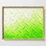 Society6 Serving Tray with handles, 18'' x 14'' x 1 3/4'', Lime Green Industrial Metal Sheeting Digital Photo Edited by americancut