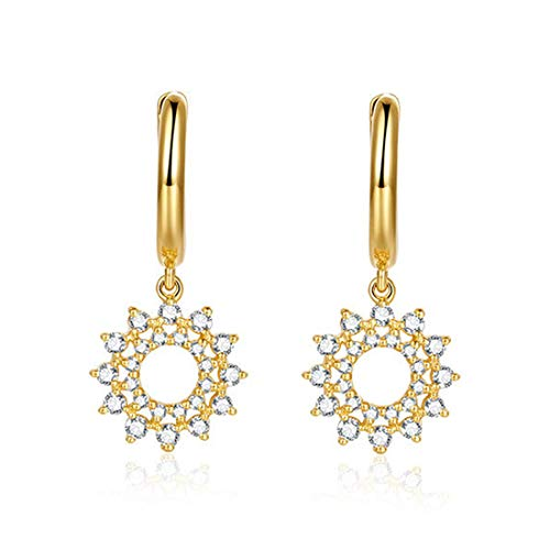 Carleen 14k Solid Yellow Gold Dangle Flower Star Diamond Hoop Earrings For Women Girls (0.31cttw, I-J Color, SI2 Clarity)