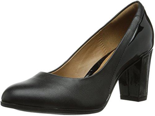Clarks Basil Auburn, Zapatos de mujer Negro (Black Combi Lea)