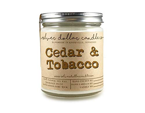 Cedar & Tobacco Scented Candle Soy Natural Hand Poured 100% Soy Wax | Book Lover Cedar Sandalwood Moss Jasmine