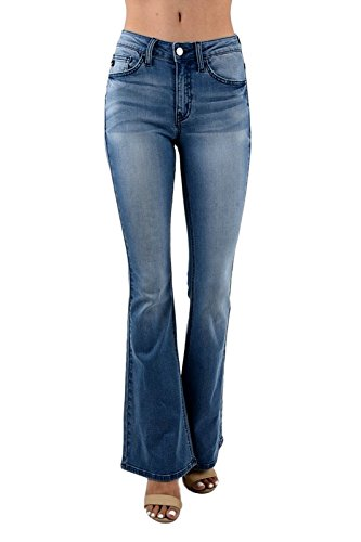 Kan Can Women's Mid Rise Flared Jeans 5 Light Wash KC6102HRL
