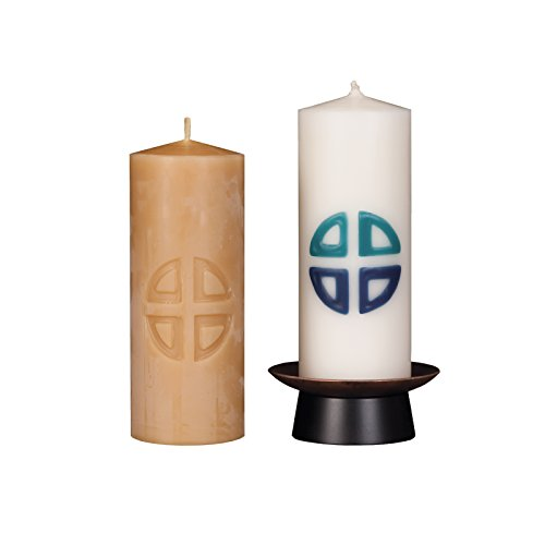 Beeswax Christos™ Candle Set; 2-1/2'' x 6'' candles with base; Genesis™ design in teal and sapphire blue. Handcrafted in New England. Made in America. by Marklin Candle