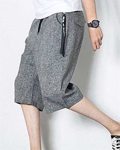 Estilo Algodón Cortos Simple Bolsillos Sólido Hombres Grau Playa De 4 Color Laterales Ocio Verano Los Cordón Pantalones Harén Con 3 qXYwSax66I