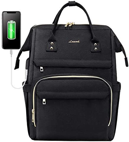 Laptop Backpack for Women Fashion Travel Bags Business Computer Purse Work Bag with USB Port, Black
