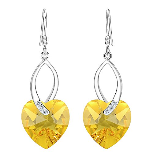 EleQueen 925 Sterling Silver CZ Love Heart French Hook Dangle Earrings Yellow Made with Swarovski Crystals