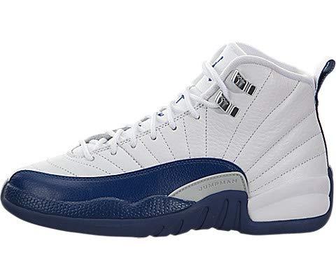 finest selection 1ac54 7b293 Jordan 12 Retro Bg Big Kids Style, White French Blue Metallic Silver,