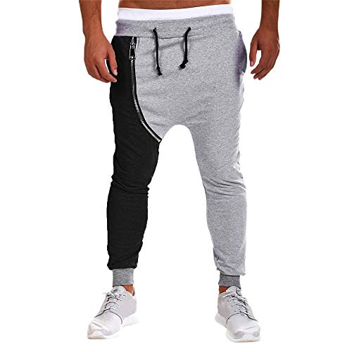 Grigio Sportivi Pantaloni Cotone Casual In Uomo Da Harem Cerniera Con Jiameng Jogging P6qwdxp4
