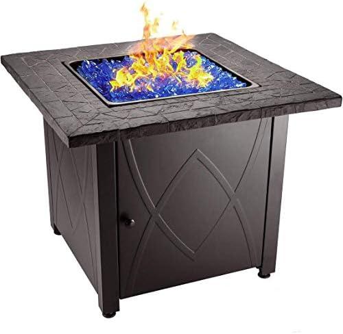 Endless Summer 30 Outdoor Propane Gas Fire Pit Table Blue Fireglass Garden Outdoor Amazon Com