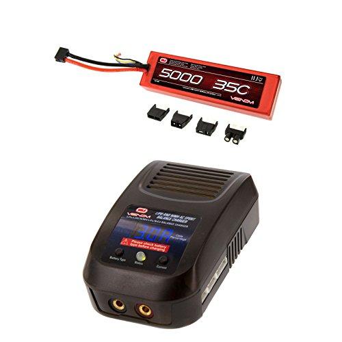 Venom 35C 3S 11.1V 5000mAh LiPo Hardcase Flat Pack Battery with UNI Plug and Venom LiPo and NiMH AC Sport Balance Charger Money Saving Combo by Venom RC