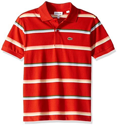 Lacoste Little BOY Summer Lover Striped Pique Polo, SALVIA/Multi 4YR by Lacoste (Image #1)
