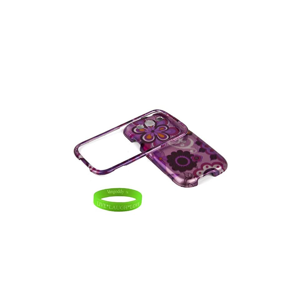 Quality VanGoddy Snap On Samsung Galaxy S3 / s III Android Phone 4.0 OS Smartphone Accessories Bundle Groove Purple Floral Hard Shell Designer Case + Compatible Samsung Galaxy S3 / s III Black Earbud Earphones & Desk Cord Holder + VanGoddy Trademarked