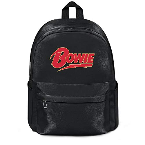 - Womens Girl Boys College Bookbag David-Skulls-Bowie-Classic-Logo- Classic Nylon Water Resistant School Backpack Bag Black