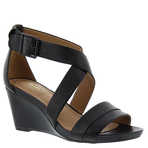 Clarks Women's Acina Newport Black Leather Sandal TH9qTfe