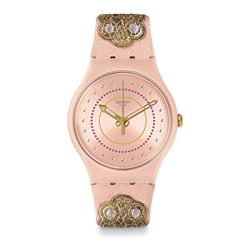 Swatch Women's Embroidery SUOP108 Pink Leather Swiss Quartz Fashion Watch