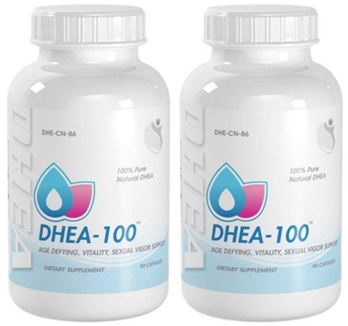 DHEA Anti Aging, Vitalité, sexuelle Vigor soutien DHEA 100mg 180 Capsules 2 Bouteilles