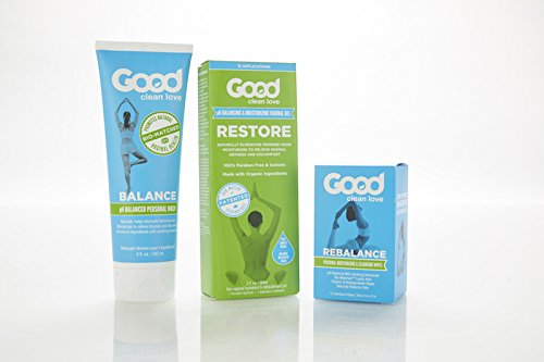 Good Clean Love Bio-Match Kit Trio: Balance Wash 2oz, Restore Moisturizing Lubricant 2oz, & Rebalance Wipes 12ct