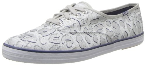 Keds Women's Champion Leopard Fashion Sneaker, Silver, Size 5.0