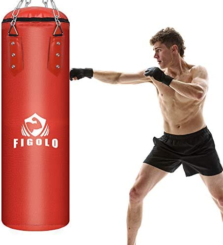 Figolo Punching Bag Filled Set for Adult/Kids, 42 Inches/ 40LBS Boxing Hanging Heavy Bag for Kickboxing Fitness Training Muay Thai MMA, Martial Arts, Home Gym