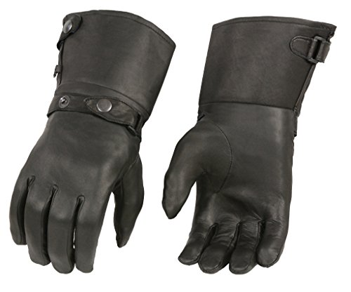 M-BOSS Motorcycle Apparel-BOS37501-BLACK-L-Men's Thermal Lined Leather Gauntlet Gloves w Snap Wrist & Cuff-BLACK-L ()