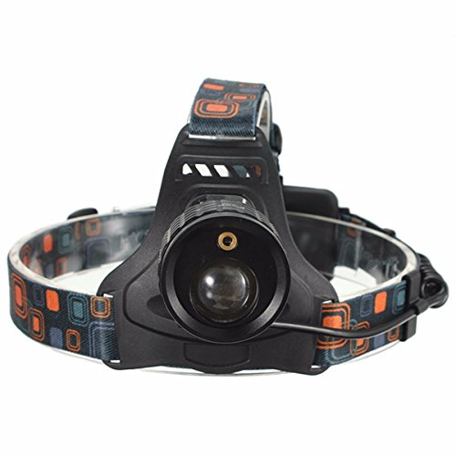 4 Mode LED Zoomable Headlight Headlamp White And Red Laser Light Use 2x 18650 batteries ()