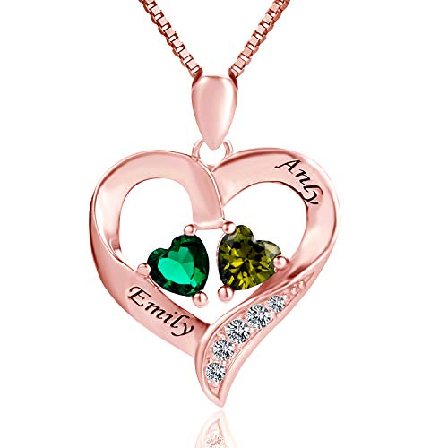 (MissNity Women Sterling Silver Engraved 2 Names Necklace Personalized Simulate Birthstones Rose Gold Plated Custom Promise Heart Pendant Jewelry for Mom (Rose)