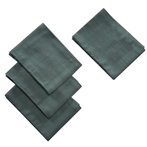Kitchen Dish Cloth Towels Set (4 Pack) Cotton Linen Hand Towels Super Absorbant Terry Kitchen Tea Towels Dish Cloths (Dark Green)