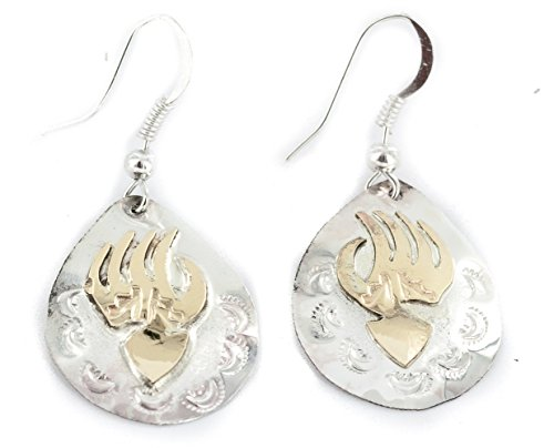 ($170Tag 12ktGF Silver Bear Paw Certified Navajo Dangle Native American Earrings 24469 Made By Loma Siiva)