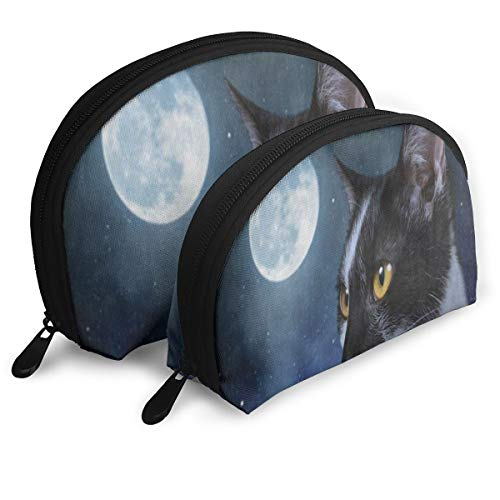 Pouch Zipper Toiletry Organizer Travel Makeup Clutch Bag Cat Kitten Moon Dark Night Galaxy Portable Bags Clutch Pouch Storage Bags