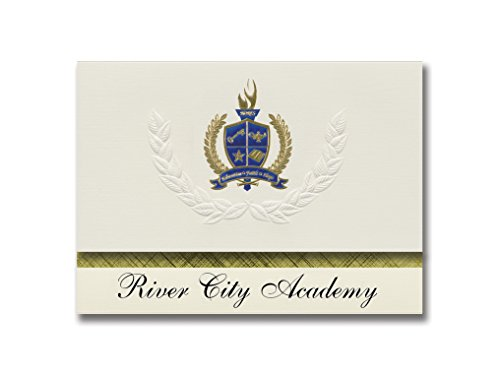 Signature Announcements River City Academy (Soldotna, AK) Graduation Announcements, Presidential style, Elite package of 25 with Gold & Blue Metallic Foil seal -