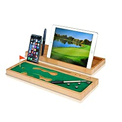 Desktop Mini Golf for Office - Bamboo Serving Tray Organizer, Stand for Phone and Tablet, Wood Caddy and Pen Holder by Arete Concepts