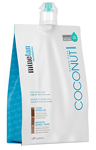 MineTan Spray Tan Solution - Coconut Water Pro Spray Mist - Salon Professional 1 Hour Express Tan Made With Real Coconut Water, 33.8 fl oz