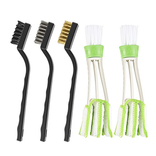 Direct Vent Brass (2pcs Car Blind Cleaner Tools for Window and air Conditioner, 3pcs Wire Detail Brush for Cleaning & Automotive)