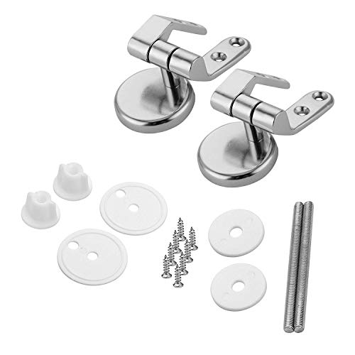 (Lystin Toilet Seat Hinges Replacement Parts with Fittings, Pair of Zinc alloy Finished Replacement Hinges Adjustable Toilet Seats Hinges with Bolts and Nuts)