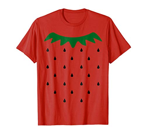 Mens Strawberry Halloween Costume Simple Black Seeds T-shirt Small Red for $<!--$17.99-->