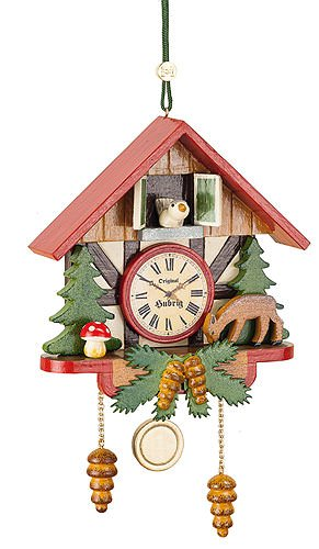 Tree ornaments Tree ornament Cuckoo clock forest - 10cm / 3,9inch - Hubrig Volkskunst