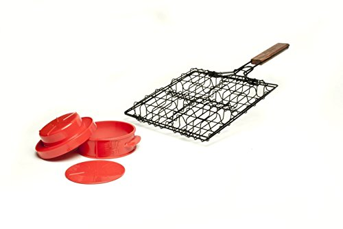 Charcoal Companion CC7308 Stuff-A-Burger 2 Piece Basket and Press Set (Non Stick Burger Basket)