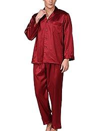 Aieoe Mens Luxury Silk Nightwear Pajama Set Long Sleeve Loungewear Top & Pants