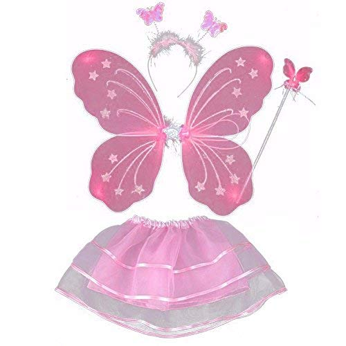 Butterfly Princess 4 Piece Fairy Costume Wings, Headband, Wand and Tutu Accessory Set Assorted Colors (Pink) ()
