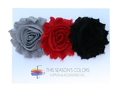 Shabby Chic Flower Hair Clips, Set of Three, Over 20 Colors: Dramatic: Black, Red and Gray