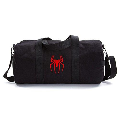 Spiderman Symbol Army Sport Heavyweight Canvas Duffel Bag in Black & Red, Large