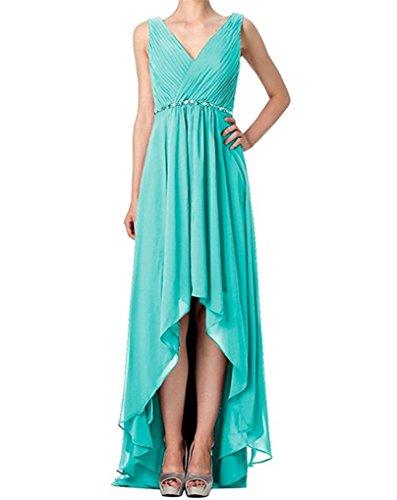 Long Bridesmaid Zipper Front Low Chiffon High Straps Short Turquoise A Back Beads Back Dress Dresses Line Wedding gv61q1wF