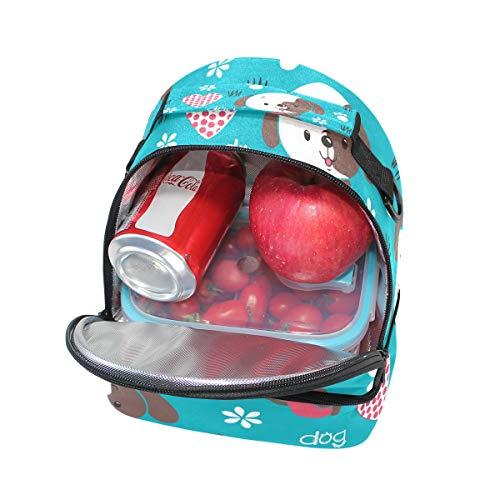 Cœur Alinlo Chien isotherme Sac Dessin animé l'école Cooler à lunch à avec Pincnic Tote Boîte réglable bandoulière pour mignon H4r4xwqtI