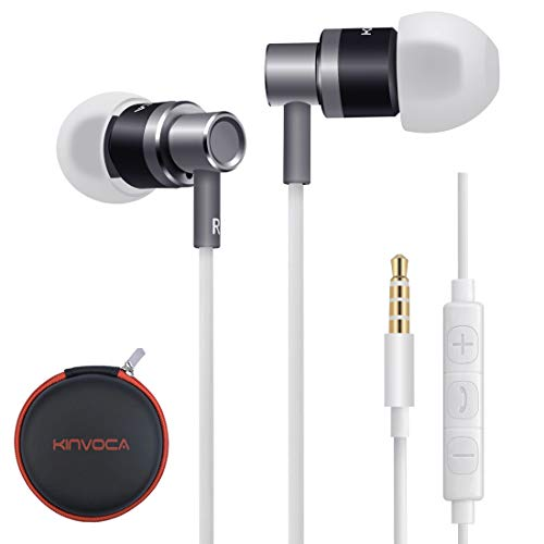 KINVOCA Wired Metal in Ear Earbuds Headphones with Microphone Remote Volume and Case,Bass Stereo Noise Isolating Inear Earphones Ear Buds for Cell Phones MP3 Players,Aluminum Alloy,3.5mm Jack,Gray