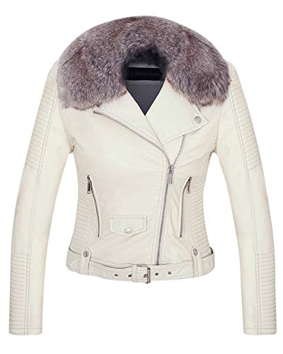 Chartou Women's Fluffy Sherpa-Lined Faux Leather Bomber Moto Biker Jacket with Fur Collar (White, (Fur Collar Leather Zippered Jacket)