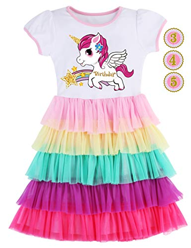 - PrinceSasa Elegant Girls Dress Unicorn Rainbow Party White Cupcake Short Sleeve Spring Dress for Princess Toddler Birthday Outfits Dresses,5T19B,3-4 Years(Size 110)