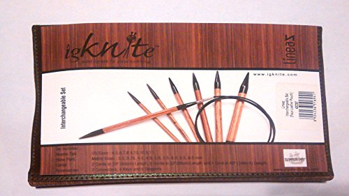 Interchangeable Knitting Needle Set with Faux Leather Storage Pouch by Lineaz by igknite