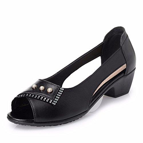 Casual Nero I Compresa No Lady Di Tra Sandali Età Vecchio Fondo Scarpe Morbidi Madre E 55 Shoes Xiazhong Cava AxwU0qwT4