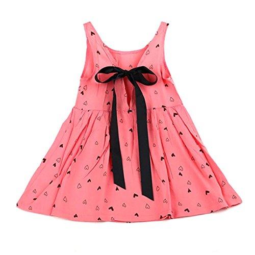 Amlaiworld Baby Kid Girls ärmellose einteiliges Kleid Print Bowknot Tutu Kleid Rosa