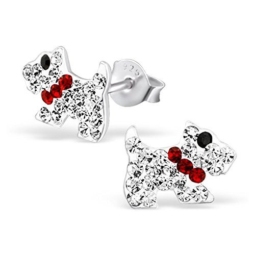 Crystal Dog Earrings Post Studs Girls Childrens 925 Sterling Silver ()
