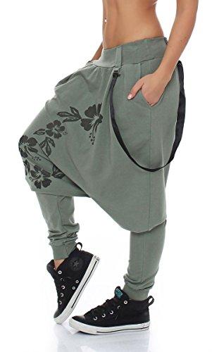 Baggy malito Taglia Unica Pantaloni giarrettiere Oliva Aladin Sbuffo Boyfriend Twist 91085 Donna x6xw7Y